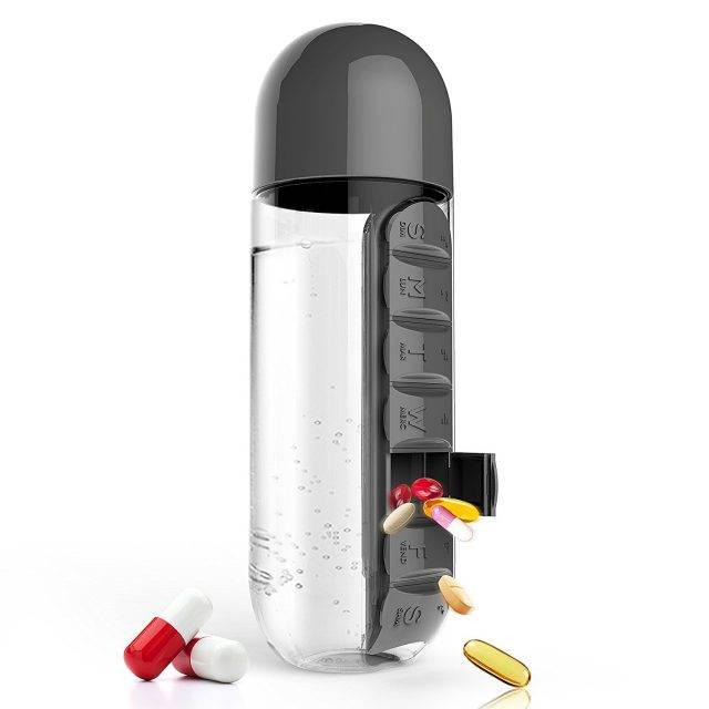 Water Bottles with Pill Boxes Bottles & Shakers Fitness Aids
