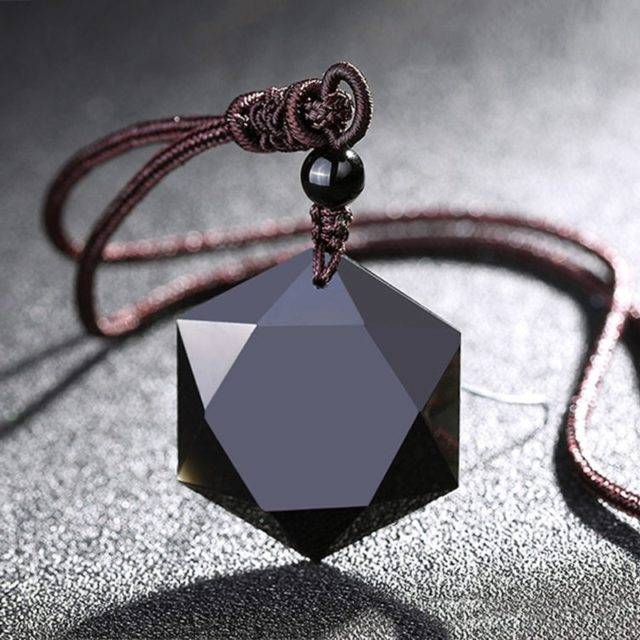 Natural Energy Stone Black Obsidian Pendant Six Stars Lucky Amulet Necklace Pendant Protect Your Safety Love For Men Women Gift